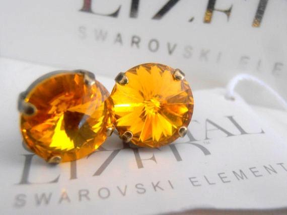 Sunflower Yellow, 12mm Swarovski Studs, Crystal, Rivoli Setting, 1122, Antique Brass, Post, Stud Earrings