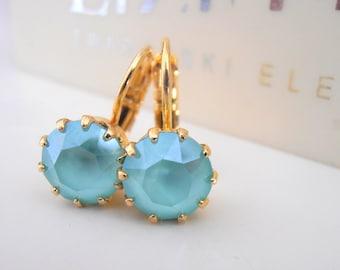 Mint Green Swarovski Dangle & Drop Earrings / 14K Gold Dainty Victorian Jewelry / French Crown Leverback / Girl Prom Earrings / Women's Gift