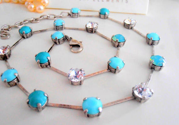 Turquoise Crystal Collet Necklace w/ Swarovski Crystals