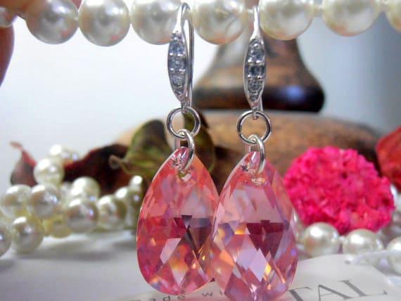 Light Rose 22mm Swarovski Tear Drop Crystals in a 925 Sterling Silver setting Dangle Earrings, Bridal Earrings Hook Earrings