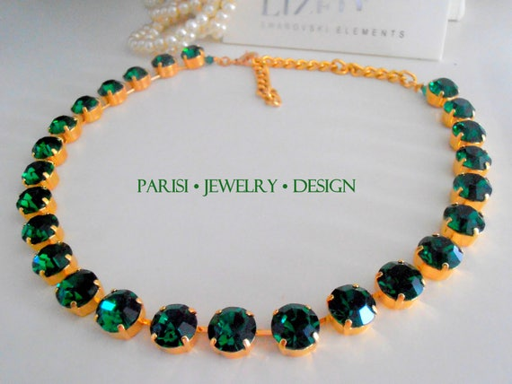 Emerald Birthstone Collet Necklace SS47 / Statement Georgian Gold Jewelry
