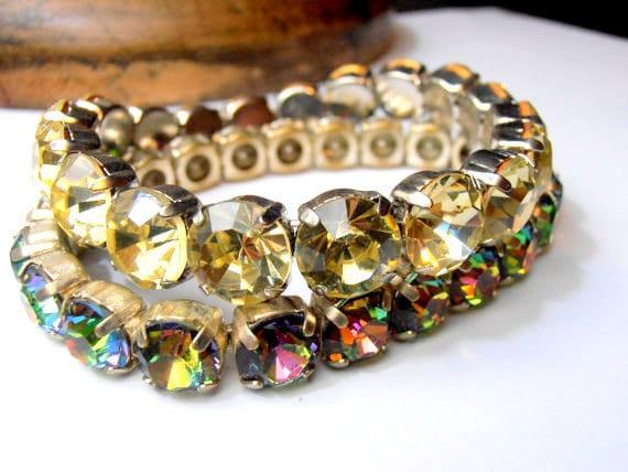 Swarovski Stretch Bracele / Jonquil/Medium Vitrail / Sew On Crystal Cuff / 8mm Silver Setting / Gift For her / Women Fashion Accessories
