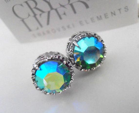Peridot Shimmer Crystal Stud Earrings / Swarovski Crystal Pierced Post /  Art Deco Filigree Earrings with Surgical steel / Bohemian / Gifts