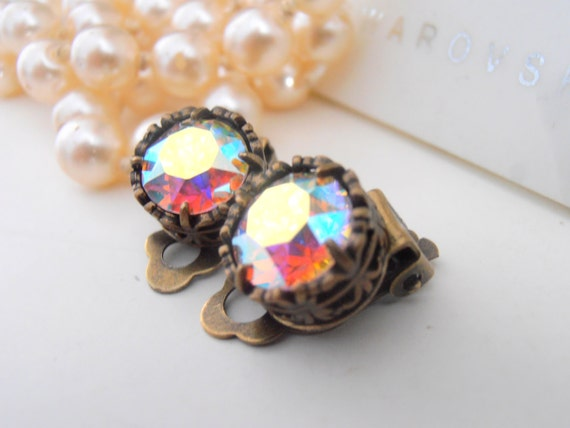 Clip On Earrings, Swarovski Clip On, Aurora Borealis Studs, Non Pierced for girls, Art Deco, Antique Bronze, Post, Filigree, Vintage Jewelry