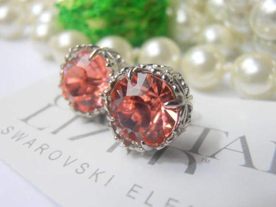 Peach Rose Swarovski Crystal Stud Earrings / Art Deco Platinum Jewelry