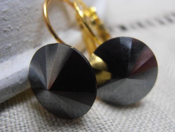 Mother's day, Jet Hematite Black 12mm, Swarovski Crystal Rivoli, Golden setting, Dangle Earrings, Drop Leverback Earrings