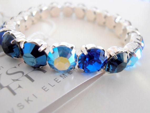 Swarovski Stretch Bracelet / Sew on Crystal Chatons Bracelet / Birthday Gift