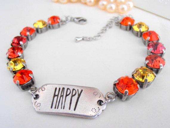 Hyacinth Charm Tennis Bracelet w/ Swarovski / Friendship Jewelry