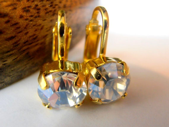 Clip on Earrings, Swarovski clip on earrings, Moonlight Non Pierced Earrings for girls, Crystal Ear Clips,Gold plated, Wedding, Bridal,