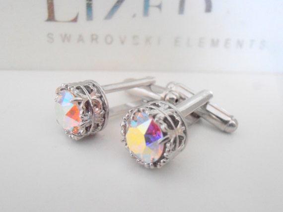 Aurora Borealis Crystal Cufflinks w/ Swarovski / Wedding Day Cuffs