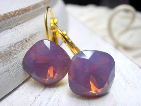 Cyclamen Opal, Swarovski crystal Earrings, Drop, Dangle, Leverback Earrings, 12mm, Cushion Cut, Wedding, Golden Glue on Setting