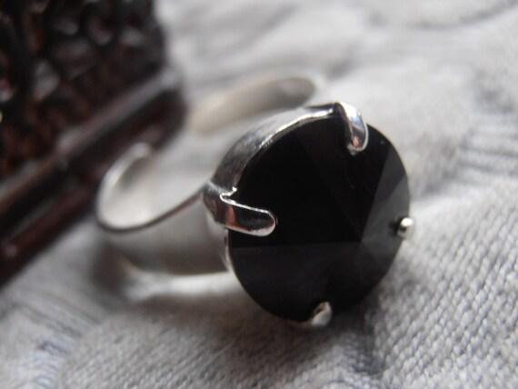 Swarovski Ring / Adjustable Rivoli Jet Black Ring / Statement Crystal Band Ring / Fashion Costume Jewelry / 12mm 1122 / Gift for her