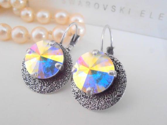 Swarovski Earrings, Aurora Borealis, Hammered Statement Earrings, Bohemian, Rivoli Disc Earrings, Dangle Drop Earrings in Antique Silver