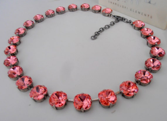 Peach Rose Swarovski Crystal Necklace / 4470 Cushion Cut Choker / Statement Jewelry