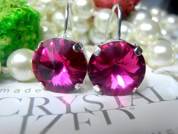 Fuchsia, Swarovski Earrings, Crystal, 12mm, Rivoli setting, Rhodium Plated, Dangle/Drop Earrings, Hook Setting Earrings