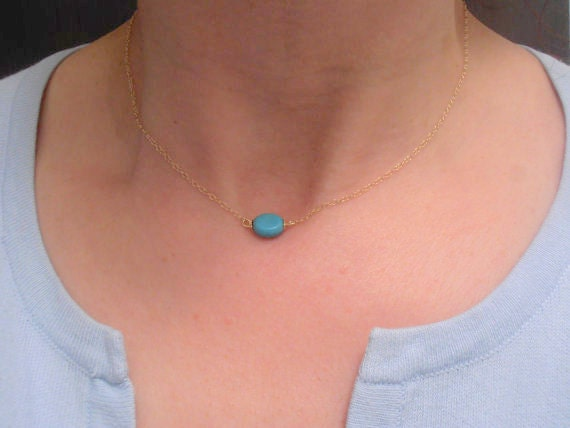 Everyday Minimalist Necklace, Turquoise Necklace, Howlite Bean, 14/20k Gold Filled Pendant, Gemstone, Charm Necklace for modern layering