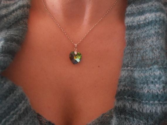 Swarovski Necklace / Dainty Heart Pendant / Medium Vitrail Green Crystal Pendant / Minimalist Sterling Silver 925 Chain Necklace