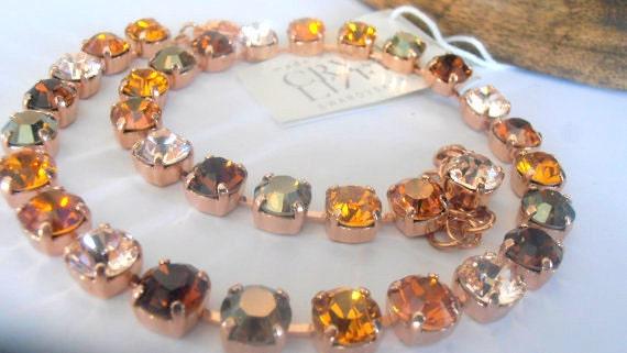 Copper Topaz Multicolors Swarovski Crystal Rose Gold Choker Necklace 8mm