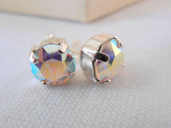 Swarovski Earrings, Crystal Studs, Aurora Borealis earring, Post earrings, Gift, Silver plated setting