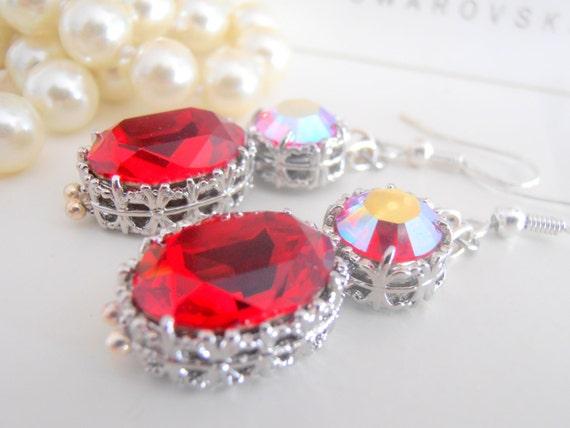 Art Deco Wedding Earrings w/ Oval Swarovski • Long Bridesmaids Jewelry