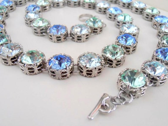 Women's Swarovski Necklace / Multi-colors Art Deco Statement Jewelry / Wedding Necklace