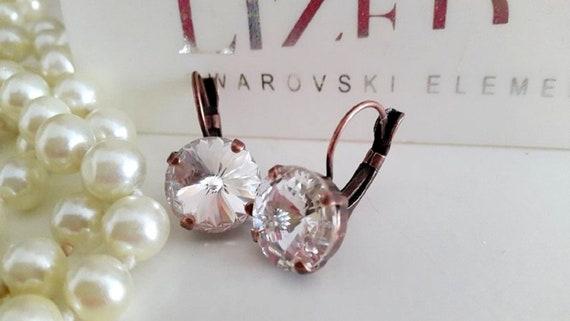 Clear Swarovski Rivoli Leverback Earrings / Antique Copper Jewelry 1122
