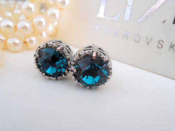 Emerald Crystal Stud Earrings / Swarovski Art Deco Post Earrings / Stainless Steel Earrings