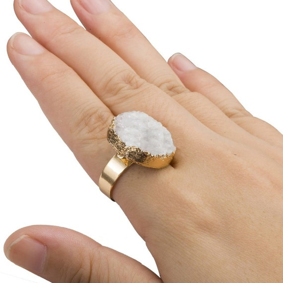 Crystal Gemstone Druzy Ring / Raw Crystal Agate Stone / Statement Adjustable Boho Ring