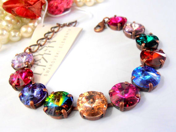 Vintage Multicolors Rivoli Bracelet w/ Swarovski Crystals • Tennis Cupchain Jewelry