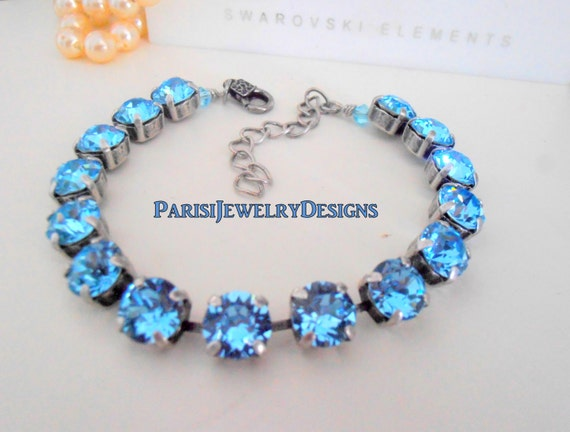 Swarovski  Bracelet / Tennis / Birthstone Aquamarine Crystal / Cupchain / Surgical Steel Chain/ Mother's Bracelet / Gift For Her / Charm