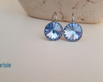 Light Sapphire Rivoli Dangle Earrings w/ Swarovski Crystals 1122 / Stainless Steel Jewelry / Round 12mm / Girls Birthday Gift