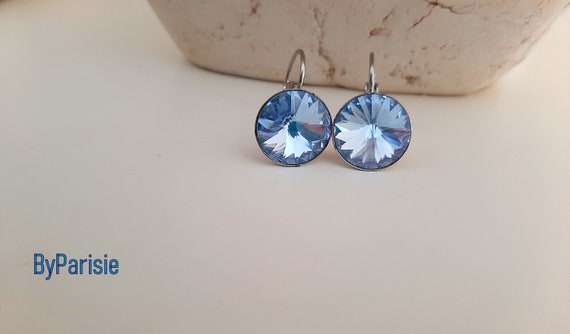 Light Sapphire Rivoli Earrings • Swarovski Crystal • Stainless Steel