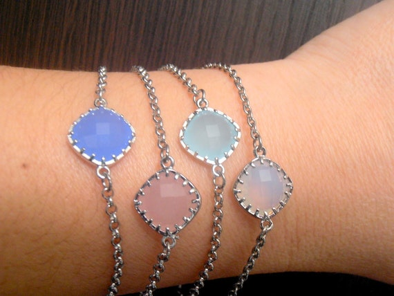 Pastel, Dainty, Opal Bracelets, 12mm, Delicate, Stacking, Glass Connector, Square Cut, Stainless Steel Rolo Chain, Wedding, Bridal Bracelet.