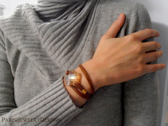 Brown Leather Swarovski Wrap Cuff Bracelet / Boho Layered Wrist Bracelet