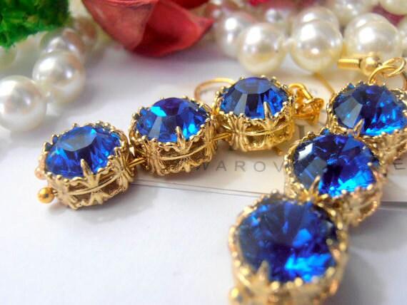 Sapphire Art Deco Gold Earrings / Wedding Jewelry / Victorian Dangle & Drop Bridal Earrings w/ Swarovski Blue Crystals  / Birthday Gift