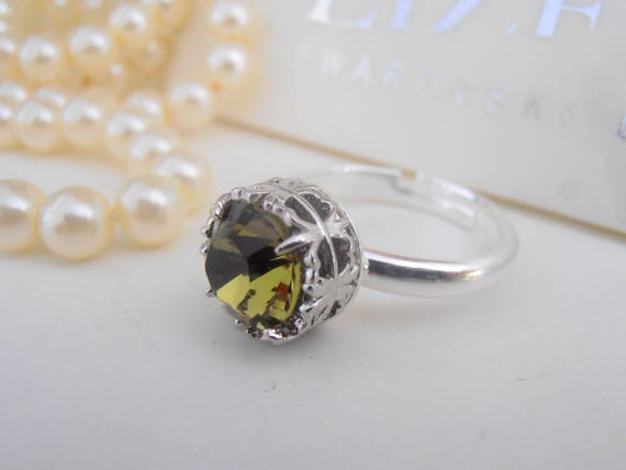 Khaki Swarovski Crystal Ring / Green Crystal Stacking jewelry