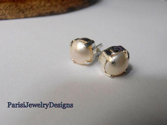 Minimalist Swarovski Bridal Stud Earrings / White Pearl Wedding Jewelry