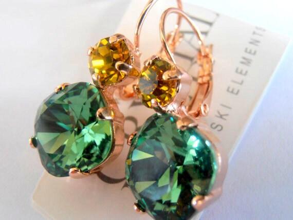 Erinite Multicolor 12mm/6mm  Swarovski crystal Cushion Cut Rose Gold plated Double Hang Dangle Earrings