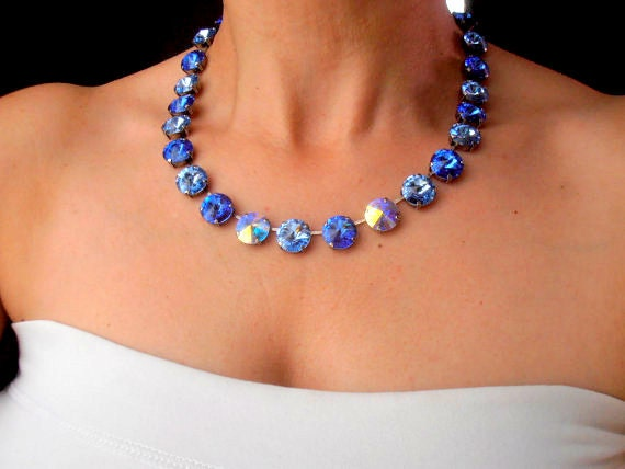 Sapphire Swarovski Crystal Necklace / Anna Wintour Rivoli Choker