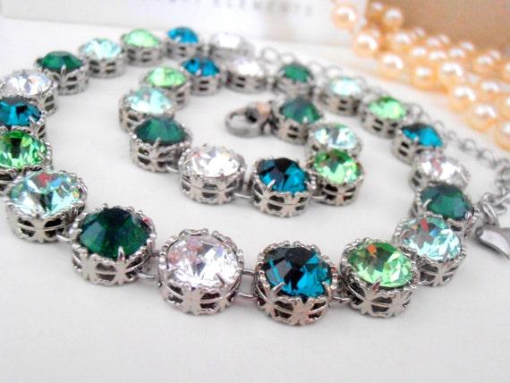 Emerald Swarovski Collet Necklace / St Patrick's day gift