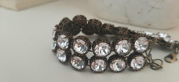Diamond Crystal Cuff Bracelet w/ Swarovski / Antique Bronze Jewelry