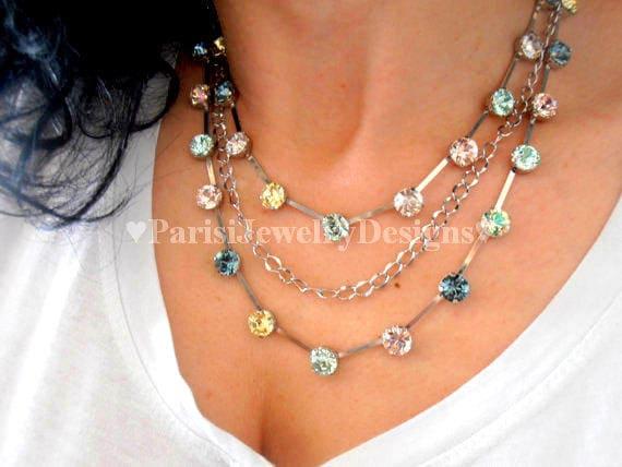 Multi Strand Long Layering Crystal Necklace w/ Swarovski