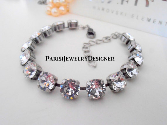 Swarovski Bracelet /Birthstone April Diamond Crystal / Tennis / Cupchain / Surgical Steel Chain / Gift For Her Christmas/ Charm Bracelet