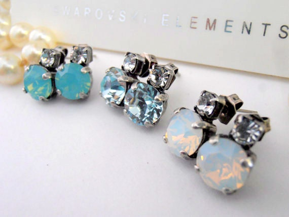 Swarovski Earrings, Studs, Post, Clear, Crystal, White Opal, Valentine Gift, Pacific Opal, Chatons 8mm, Antique Silver