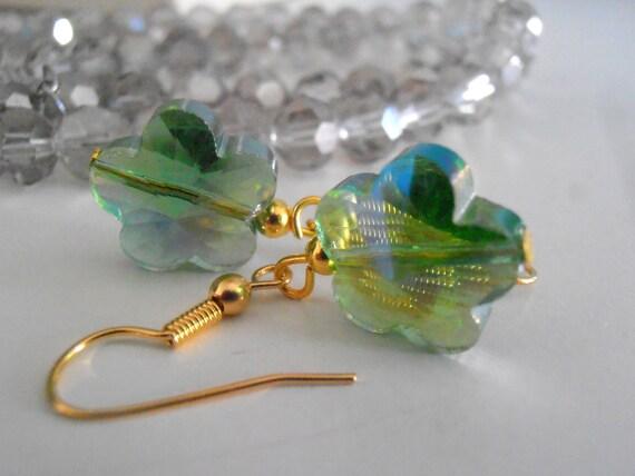 Shimmer Peridot Green Crystal Flower Earrings/  Valentine's Gift  / Dangle & Drop / Dainty / Daisy / 10mm Czech Crystal Drops / Gift for her