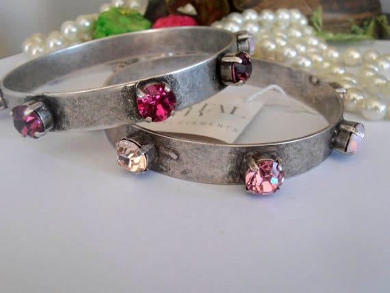 Layered Bangles / Swarovski Crystal Bracelets / Bohemian Bracelet / Metal Cuff / Gipsy Bracelet / Antique silver Plating / Ethnic bracelet