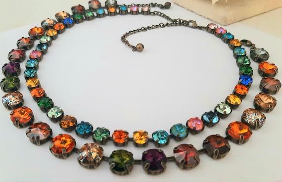 Multicolor Tennis Rivoli Necklace with Swarovski • Antique Jewelry