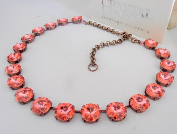 Peach Rose Swarovski Crystal Necklace / Anna Wintour / Statement Copper Jewelry