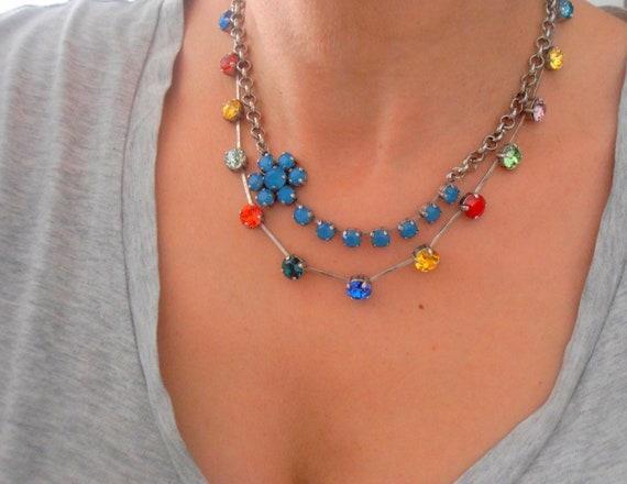 Carribean Blue Opal Necklace w/ Swarovski Crystals / Chain Jewelry
