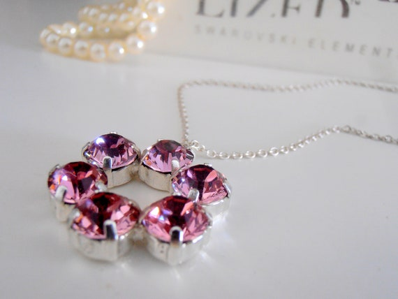 Long Swarovski Crystal Necklace / Antique Pink Circle Pendant / Chain Necklace / Birthday Gift for her
